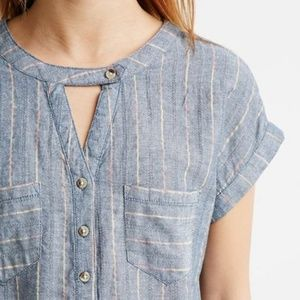 Life in Progress chambray boxy striped top